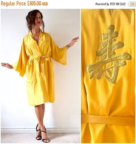 SUMMER SALE / 20% off Vintage 70s 80s Golden Yellow Kimono Dressing Robe