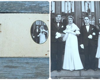Vintage Antique 1920/20s French wedding photo album / photographic image /bridal