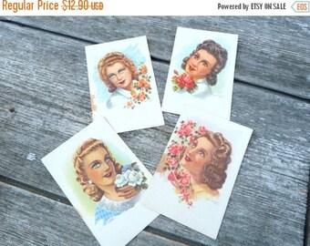 ON SALE Vintage Antique 1940/1950 batch of 4 colored postcard/women portrait