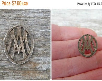 ON SALE Vintage 1900/1920 French monogram silvered metal pin brooch M.A