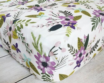 Purple Floral Fitted Crib Sheet - Purple Flowers Crib Sheet - Floral Nursery Bedding - Floral Crib Sheet - Baby Girl Crib Sheet -