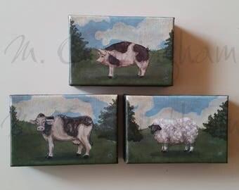 "Three (3) Original Fine Art Painting Set - Acrylic on Canvas - Three 4"" x 6"" - Grouping of Primitive Farm Animal Artwork"
