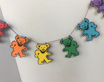 Grateful Dead Dancing Bears Banner for Birthday Party Nursery Reception Baby Shower