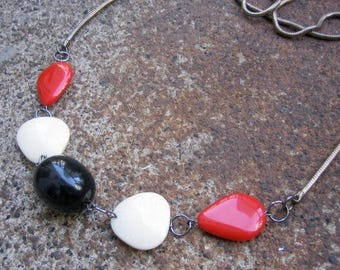 Eco-Friendly Statement Necklace - Stark Contrasts -  Recycled Supple Vintage Snake Chain and Beads in Bright Red, Black and Off-White