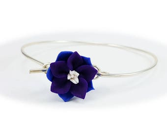 Purple Larkspur Violet Bracelet Sterling Silver Bangle - Larkspur Jewelry, July Birthday Birth Flower