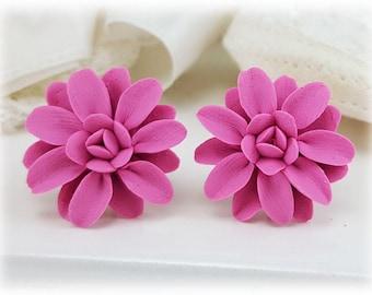 Pink Dahlia Earrings Stud or Clip On - Dahlia Jewelry