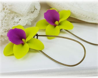 Green Orchid Earrings - Green Orchid Drop or Dangle Earrings, Green Orchid Jewelry