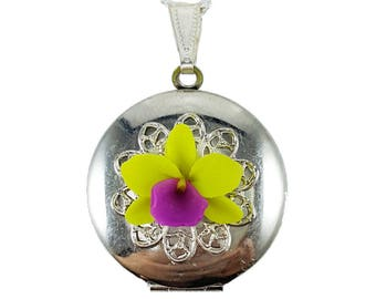 Orchid Locket Necklace - Orchid Jewelry, More Colors