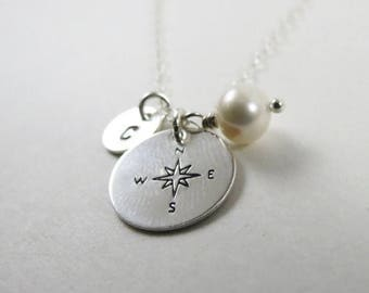 ON SALE Personalized Compass Necklace,Silver/Gold Compass Necklace, Compass Rose,Friendship Necklace, Initial Necklace,Anniversary Gift Idea