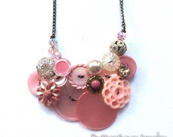 OOAK Fancy Pale Pink Unusual Vintage Button Necklace