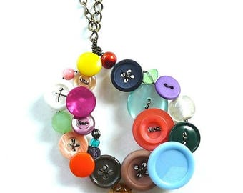 BUTTON JEWELRY SALE Button and Bead Jewelry Big Funky Colorful Oval Statement Piece