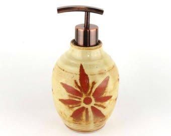 Lotion Dispenser - Soap Dispenser - 17 oz. Pottery Lotion Bottle - Yellow with Terracotta Sunburst  Lotion Bottle