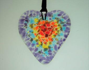 Small Bohemian Heart Glass Suncatcher Window Hanging