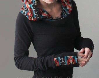 extra long sleeved hooded top in Black with Navajo Stripes