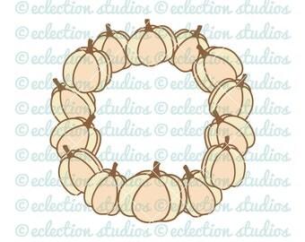 Thanksgiving SVG, Fall svg, pumpkin wreath, pumpkin svg, wreath svg, autumn svg, DXF, eps, jpg, and png cut file for silhouette or cricut