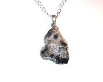 Geode slice necklace-silver bail-silver chain-nature's  beauty-one of a kind