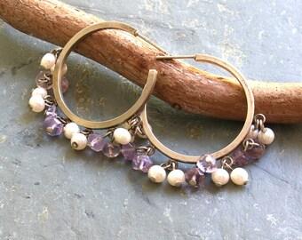 Amethyst and Pearl Earrings  Amethyst Silver Hoop Earrings  Bead Dangle Silver Hoop Earrings