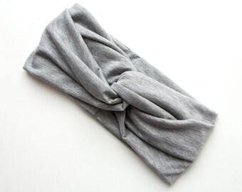 READY TO SHIP Turban Headband // Turband // Hair Wrap // Twist Headband // Fabric Hairband // Winter Turban // Light Marl Grey