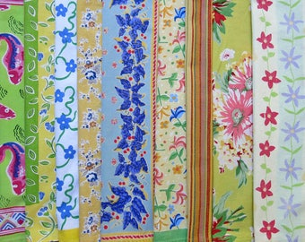 Colorful Mixed Cotton Napkin Lot of 12, Large ... Mostly Vintage, Assorted Fabric Designs, Sewing & Crafting Supply Variety