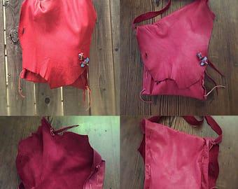 Paintin the town deerskin hobo bag handmade red lipstick dragonfly beads medium size