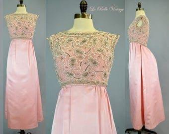 Beaded Silk Bustle Gown XS S Vintage 60s Pink Bejeweled Dress Rhinestone Pearls ~ Makoff