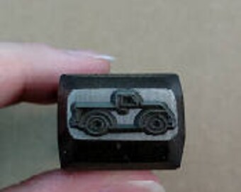 BIG Design Stamp - Vintage Truck by WonderStruck Studios - 1/4 inch (6mm) - includes How to Stamp Metal tutorial