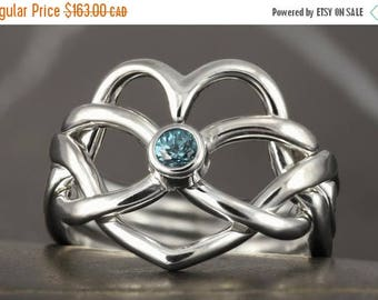 CLOSING SALE Aquamarine heart infinity Puzzle ring in sterling silver - Size 6 ready to ship