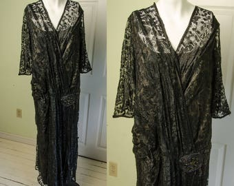 Antique 1920's Woman's Black Filet Mesh Lace Flapper Dress with Beading