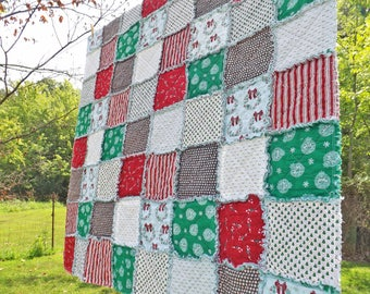 Christmas Lap Quilt - Red and Green - Candy Canes - Wreaths - Stripes - Peppermints - Ornaments - Christmas Trees