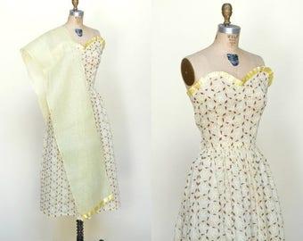 20% OFF 1940s Strapless Dress --- Vintage Yellow Print Dress