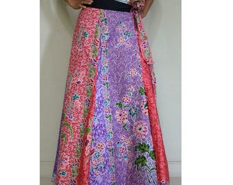 Handmade 8 Pieces floral Thai batik Sarong patchwork long comfortable  wear wrap skirt fit all size (BT 04)