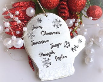 Mitten ornament, personalized Christmas ornaments, family ornament, custom ornament, personalized mitten Christmas ornament with names
