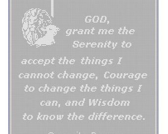Lion lamb cross serenity prayer filet crochet pattern 197A