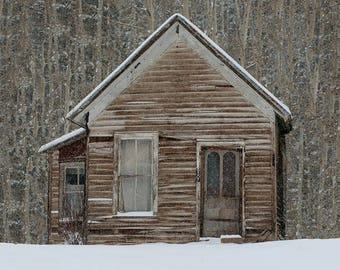 Christmas Cabin, Winter Photography, Rustic Home Decor, Colorado Photography, Abandoned House, Snowy Aspen Forest Photo, Neutral Colors