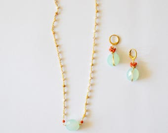 Pastel Colors Jewelry Set / 14k Gold Filled Wire Wrapped Earring and Necklace Set Sea Foam Green Chalcedony Coral and Rose Quartz Gemstones