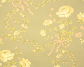 1950s Vintage Wallpaper by the Yard - Floral Wallpaper with Yellow Flowers and Butterflies