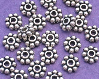 23 5mm Daisy Spacer Beads, Antique Silver Tone, About 5mm x 1.75mm with a 1.5mm hole - TS401R