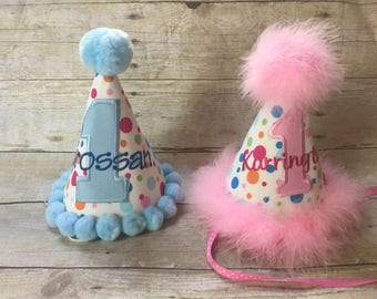 Boy Girl First Birthday Personalized Brother & Sister Party Hats Set boy first birthday