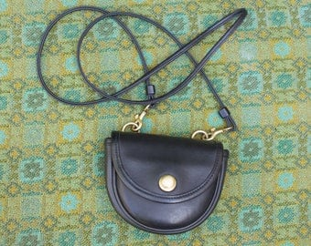 Vintage Coach Black Leather Mini Small Belt Bag Push Button Convertible Crossbody 9826 0809171