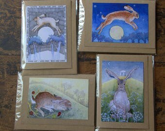 Set of 4 Hare greetings cards
