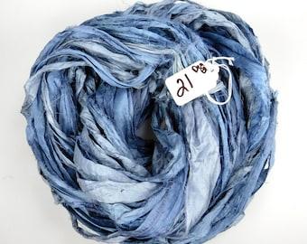 Sari Silk Ribbon, Recycled Silk Sari Ribbon,blue sari ribbon, Blue Sari ribbon, jewelry supply, weaving supply, knitting supply, blued steel