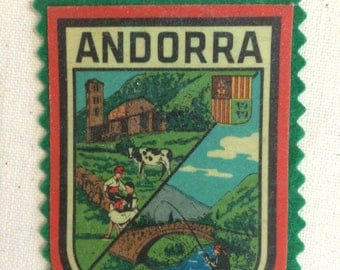 Vintage Souvenir European Travel Patch Badge Applique Andorra  France Spain