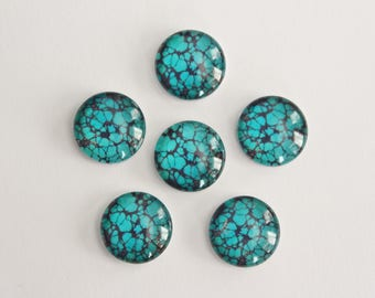Glass Cabochons - Turquoise Aqua Blue Black Speckled Crackle Design . 12mm (6)
