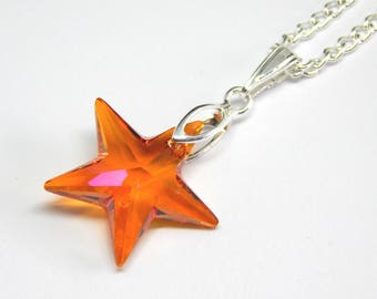 Orange Pink Swarovski Star Necklace - Astral Pink Crystal Star Necklace - Swarovski Elements - Orange Pink Crystal Star - Star Pendant