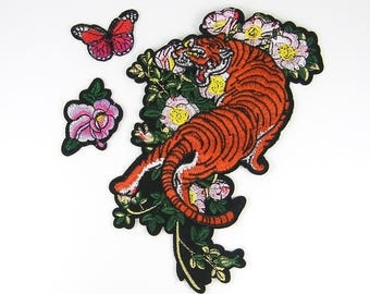 Tiger Iron On Patch, Pink Flowers Red Butterfly Embroidered Patches