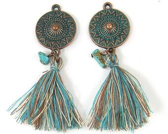Turquoise Brown Beige Tassel Earring Findings, Copper Medallion Earring Findings, Verdigris Turquoise Brown Fringe Earring Dangles |CO3-12|2