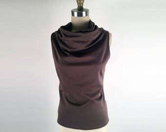 Alena Designs - Funnel - Funnel Neck Sleeveless Brown Ponte Knit (Viscose Nylon Lycra) Top
