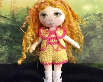 Cloth Art Doll, Amber  OOAK Fabric Textile Doll, Collector rag doll