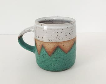 Teal Mountain Ceramic Mug, wheel thrown coffee mug, stoneware speckled pottery mug geometric mountain design teal pottery turquoise ceramic