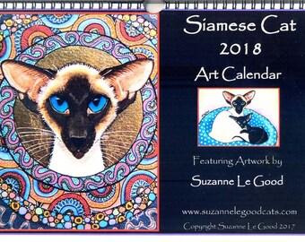 SIAMESE CAT art calendar 2018 paintings ACEO canvas wall calendar original design artwork by Suzanne Le Good